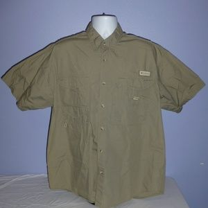 Columbia PFG Khaki S/S Vented Fishing Shirt L